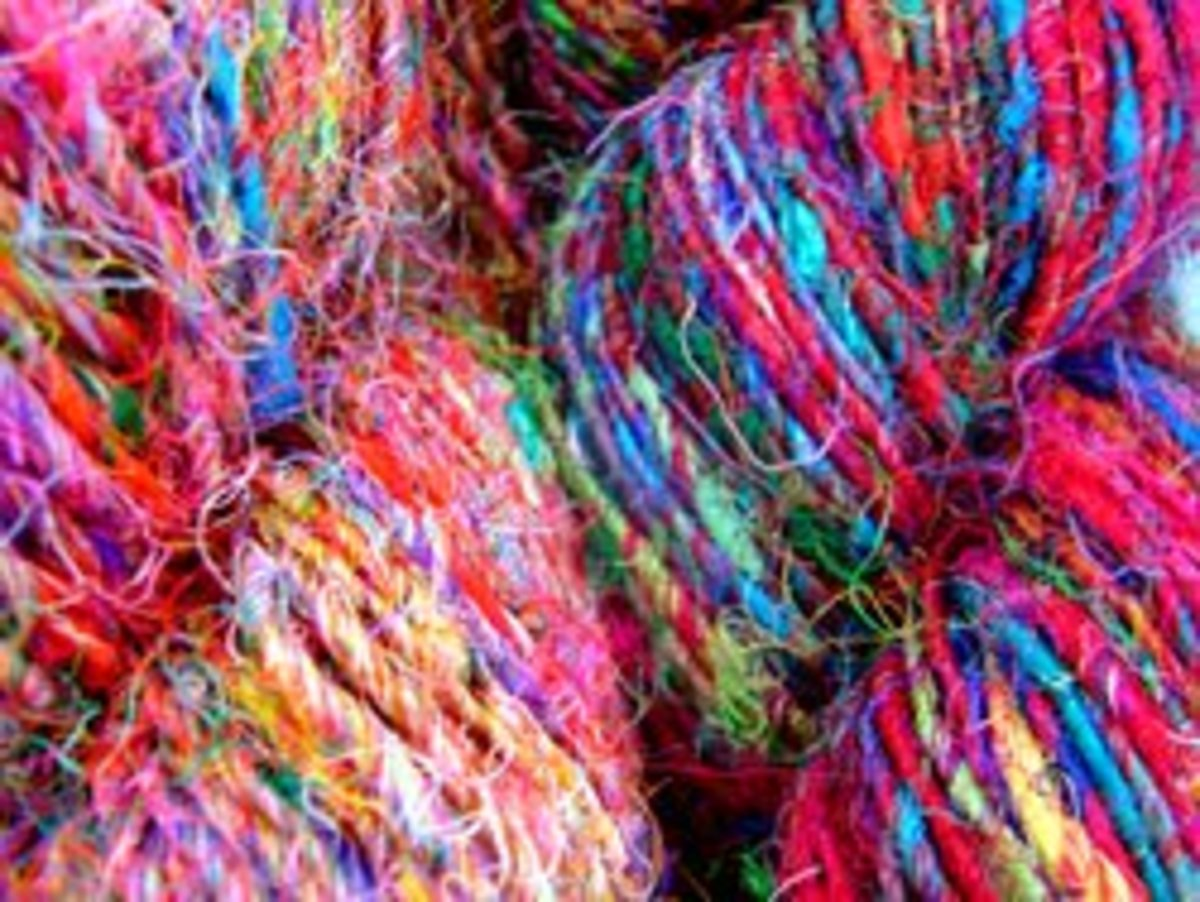 Silk sari yarn is brilliantly coloured, thin and very flexible. This is the preferred yarn for knitting and crotchet projects.