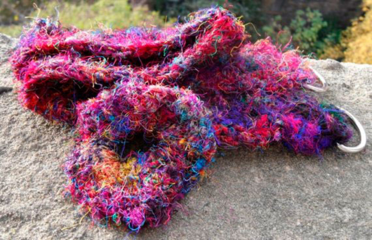 This brilliantly coloured recycled silk sari yarn crocheted belt made my an Etsy crafter brightens up a winter outfit well.