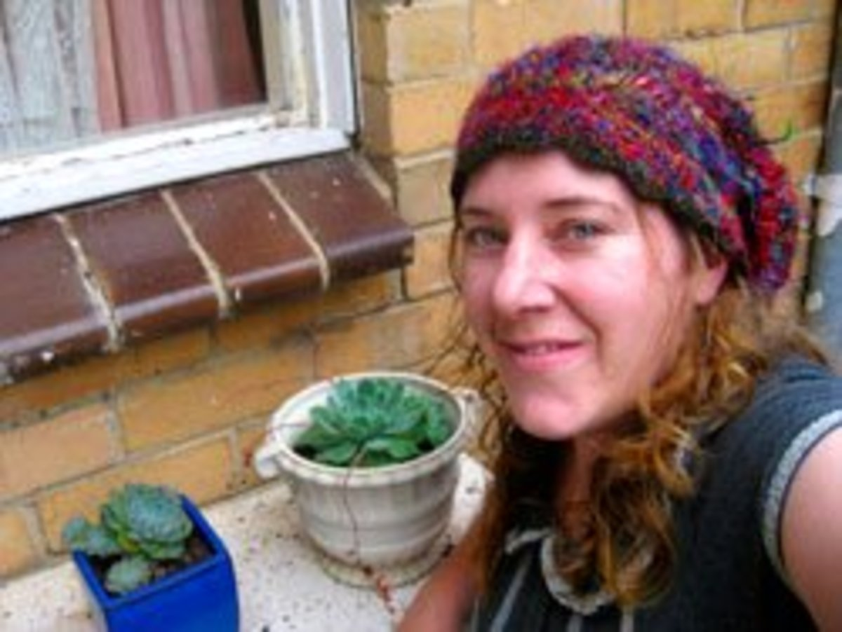 Make a Himalayan silk sari yarn hat like this one by crotcheting treble and double trebles to fit your head.