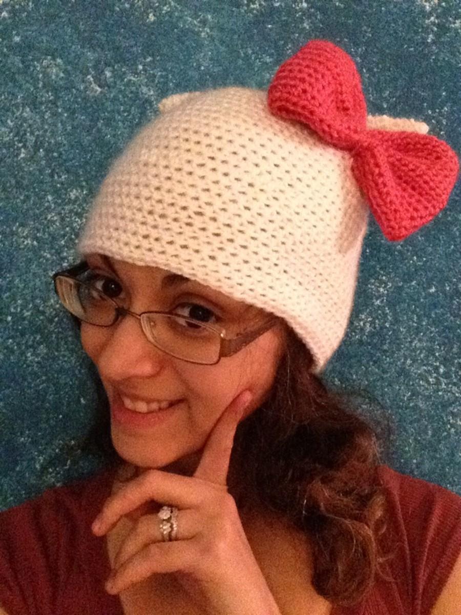 Crochet Hello Kitty hat with crochet bow