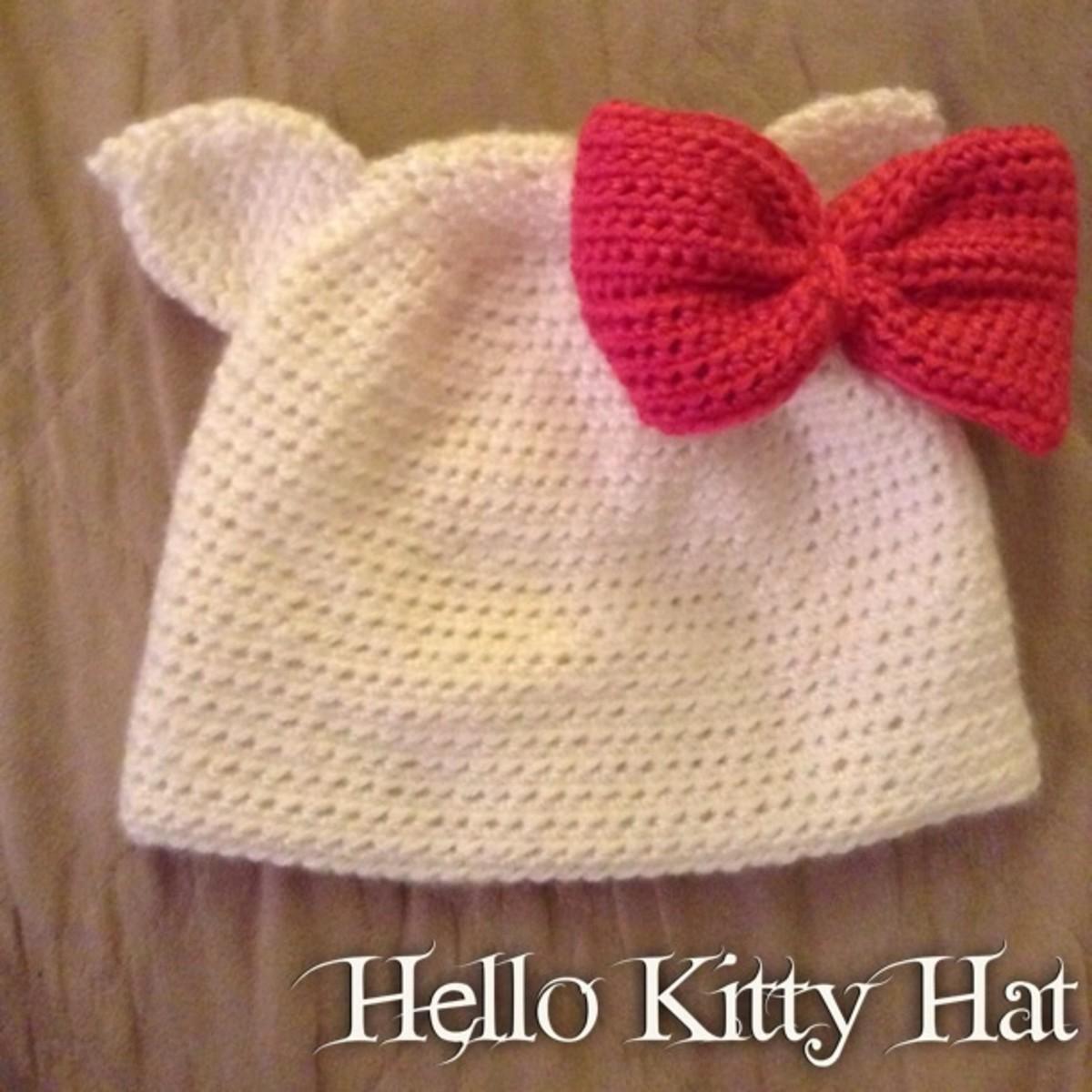 How to Crochet a Hello Kitty Hat or Headband.