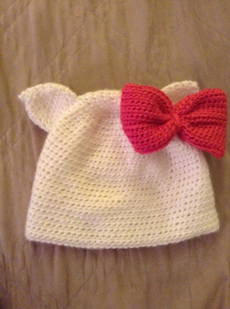 This Hello Kitty Hat was crocheted using the single cat ear pattern.