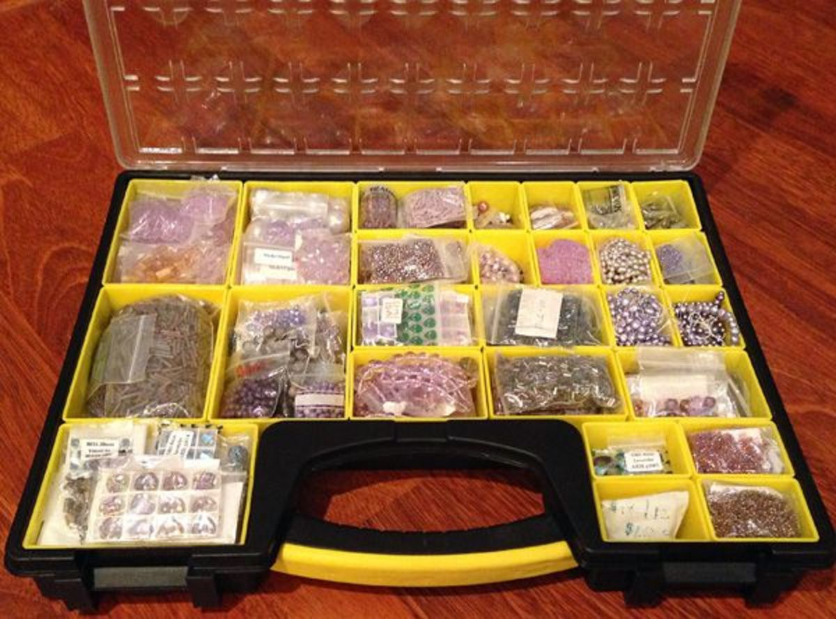 A small parts organizer is a great way to store and organize large bead collections by color.