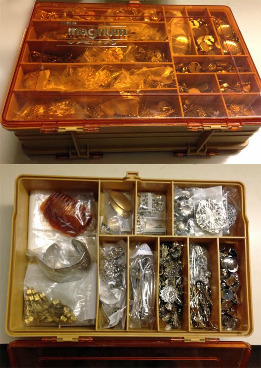 My old Plano Magnum tackle box filled with jewelry findings