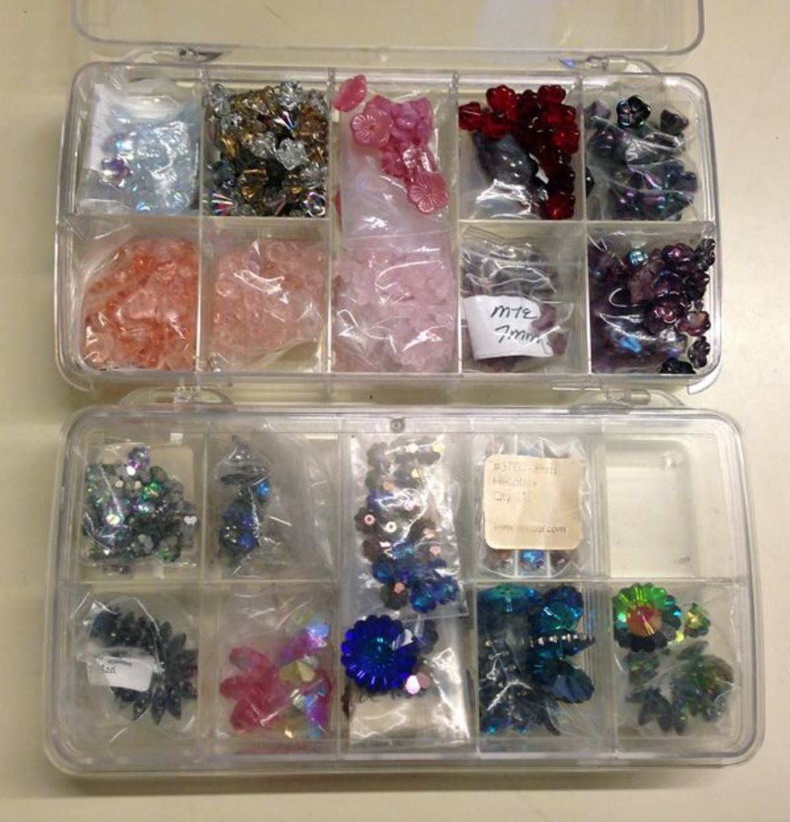 ArtBin Prism boxes used for bead storage