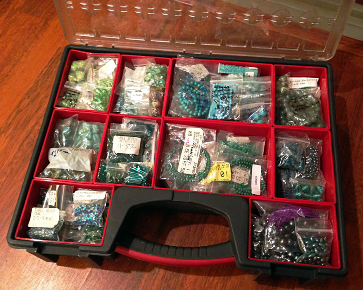 One of the double-deep parts organizers I use to store beads in the colors I use most often