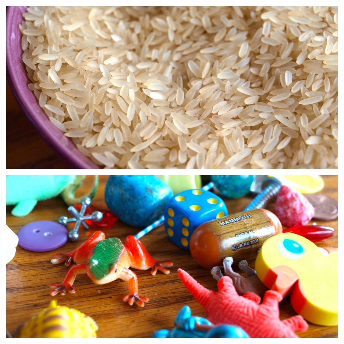 All you'll need for your I Spy bottle are rice and assorted toys/household items.