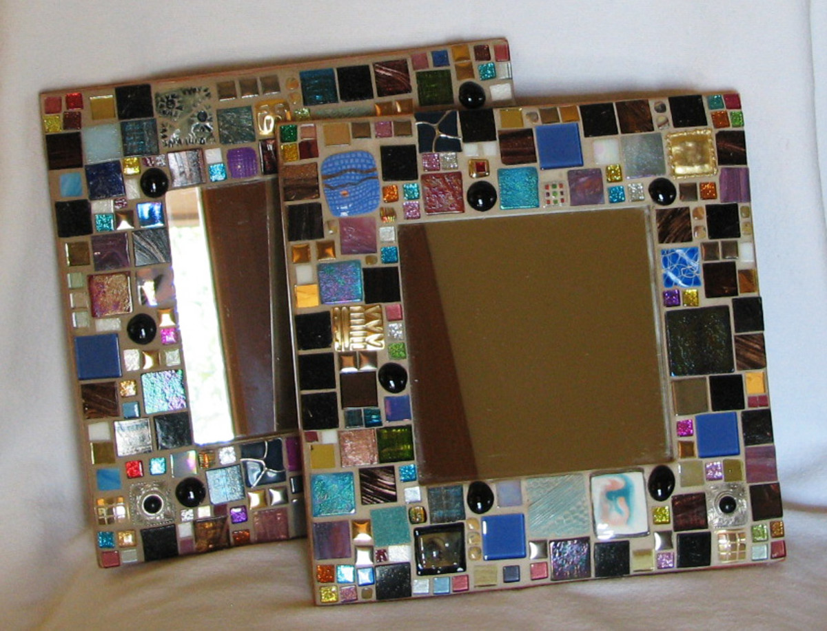 "Square tesserae on square mirrors,  entitled ""Hip to be Square"""