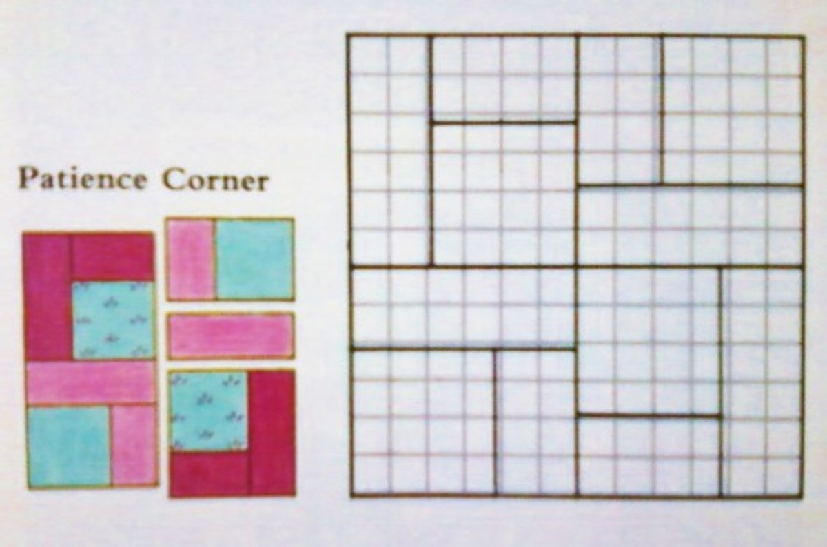 "The block shown uses four fabrics: one print, a solid of the same color, and light and dark near compliments. Four quarter blocks are positioned with two squares at the center and two squares on the outside corners for a 12"" finished block."