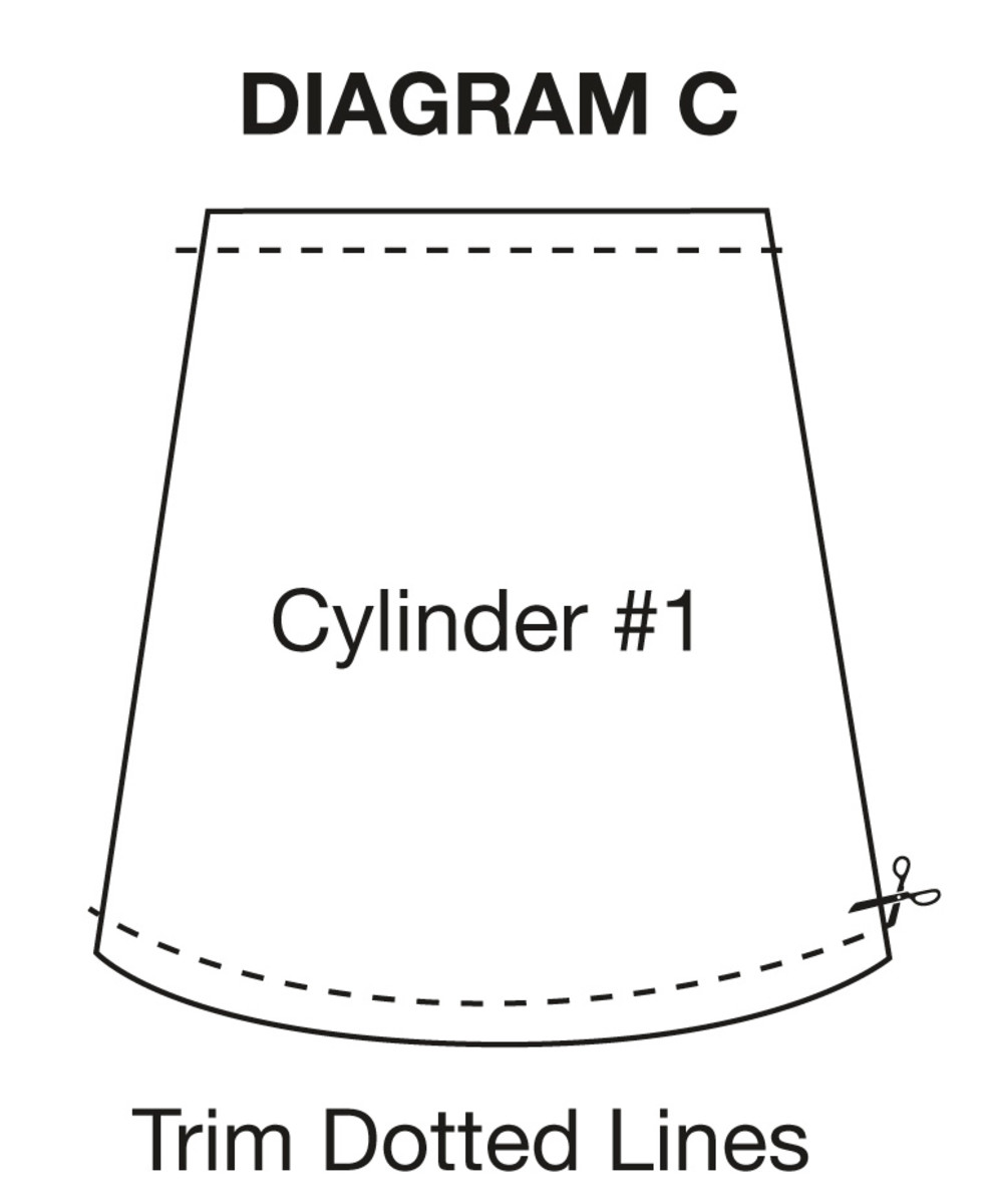 Trim off the waist and bottom hems of skirts to create one cylinder.