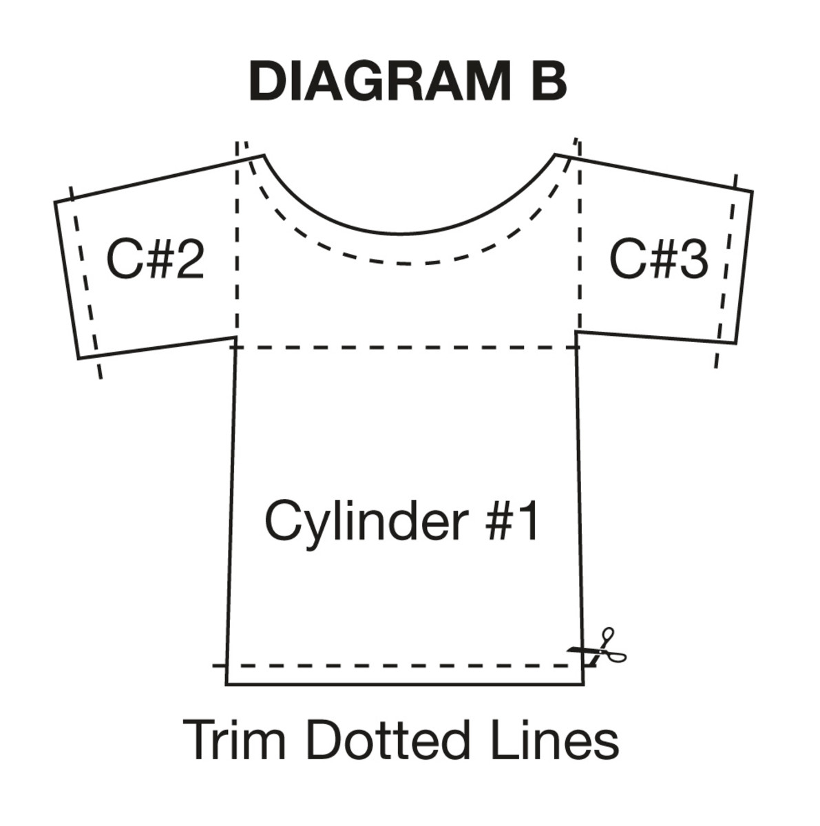 Trim off the neck, sleeve and bottom hems of tops. Then trim as pictured to make three cylinders.
