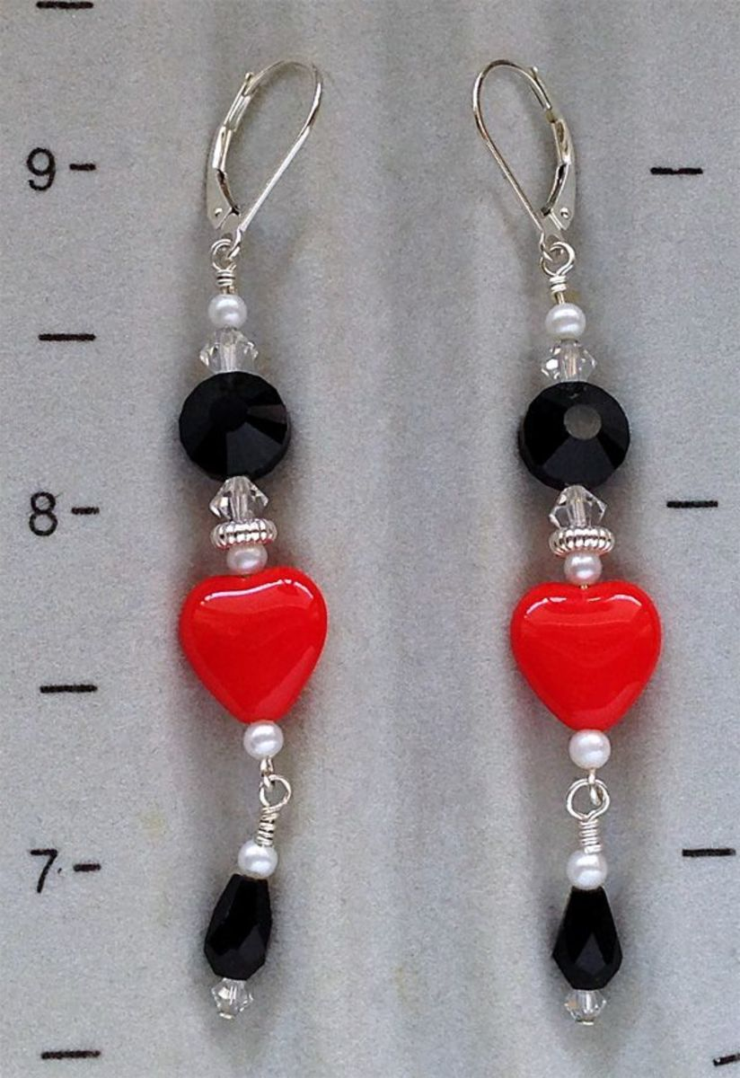 Completed beaded heart drop earrings made from this tutorial