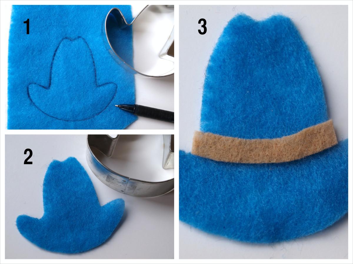 Step 3: Cut out the design. A cowboy hat makes a cute barrette!