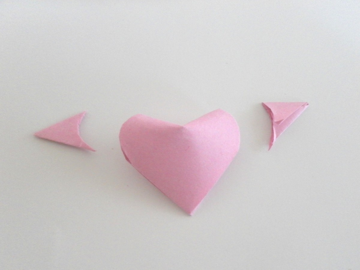 Trim off the pinched corners and you'll get a 3D paper heart.