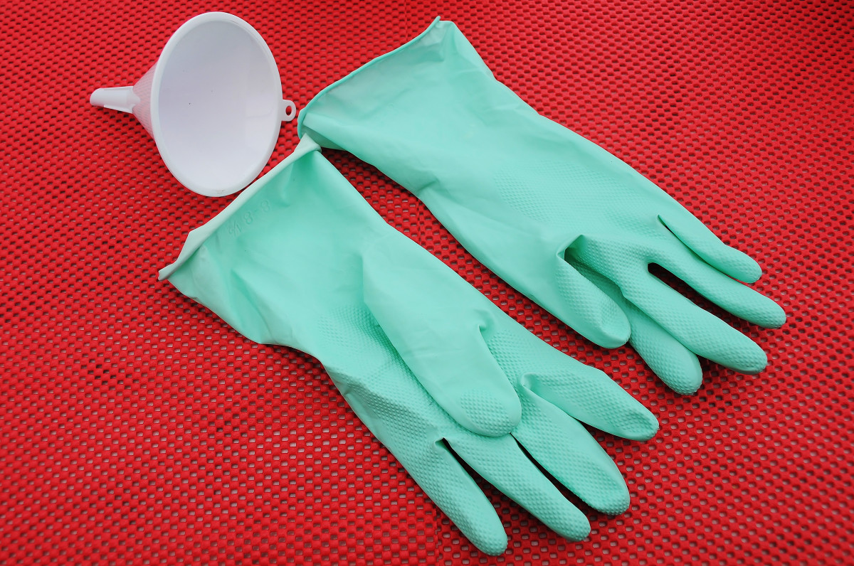 A pair of latex household gloves and a plastic Funnel, the latter is only useful if the polystyrene balls are able to fit through the entrance without becoming blocked.