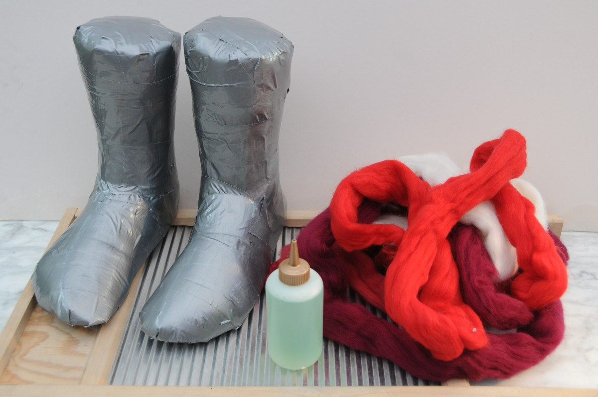 A pair of Duct Tape Lasts, Wool Roving and hot soapy water.