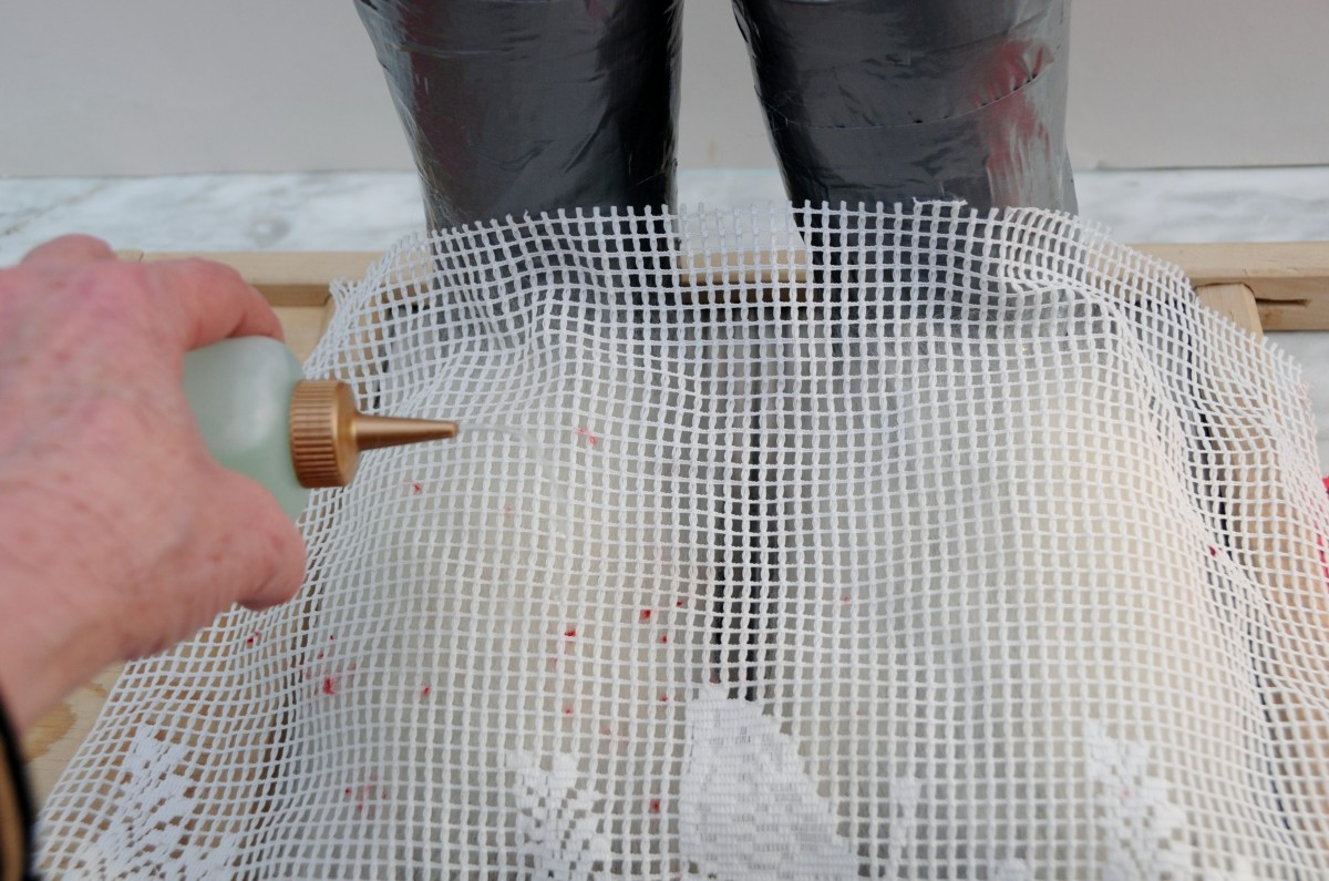 Cover with curtain netting and wet with hot soapy water