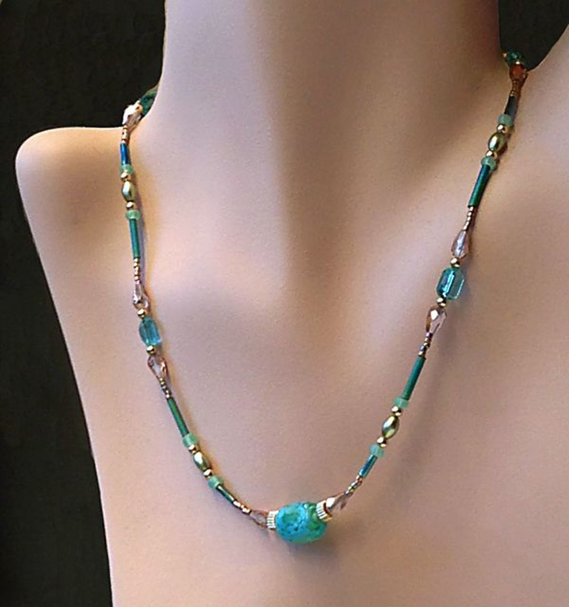 Beaded eyeglass chain worn as a necklace