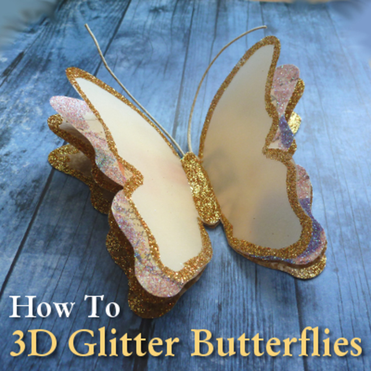 Learn how to make 3D layered paper butterflies with glitter edging.