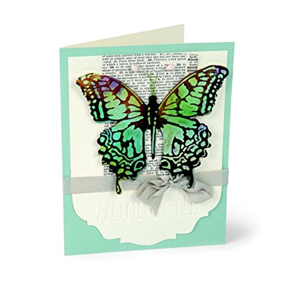 Pretty butterfly handmade card design made with the Texture Fades Folder Sizzix Bigz Die.