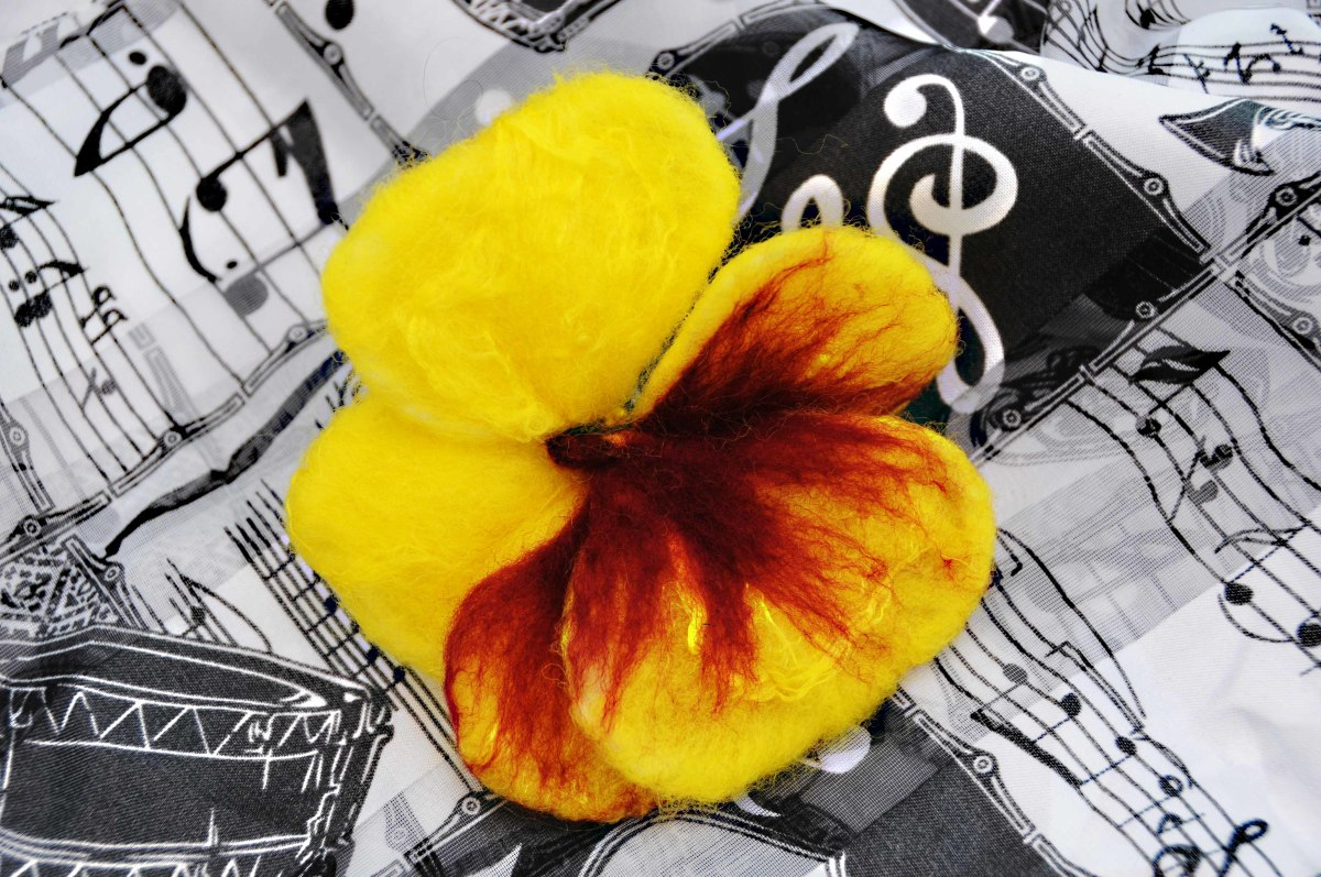 A Pansy amid signs of music.