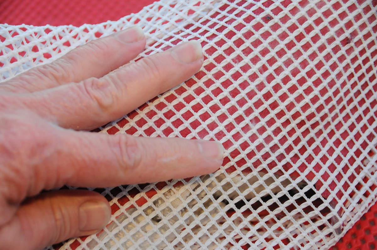Use a piece of curtain netting to cover the wet fibers and rub gently to flatten down to smooth out the fibers.