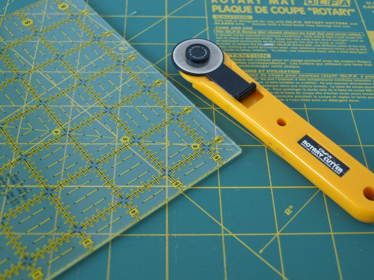 This rotary cutter, ruler and cutting mat aren't just supplies for quilters, any crafter can use them.