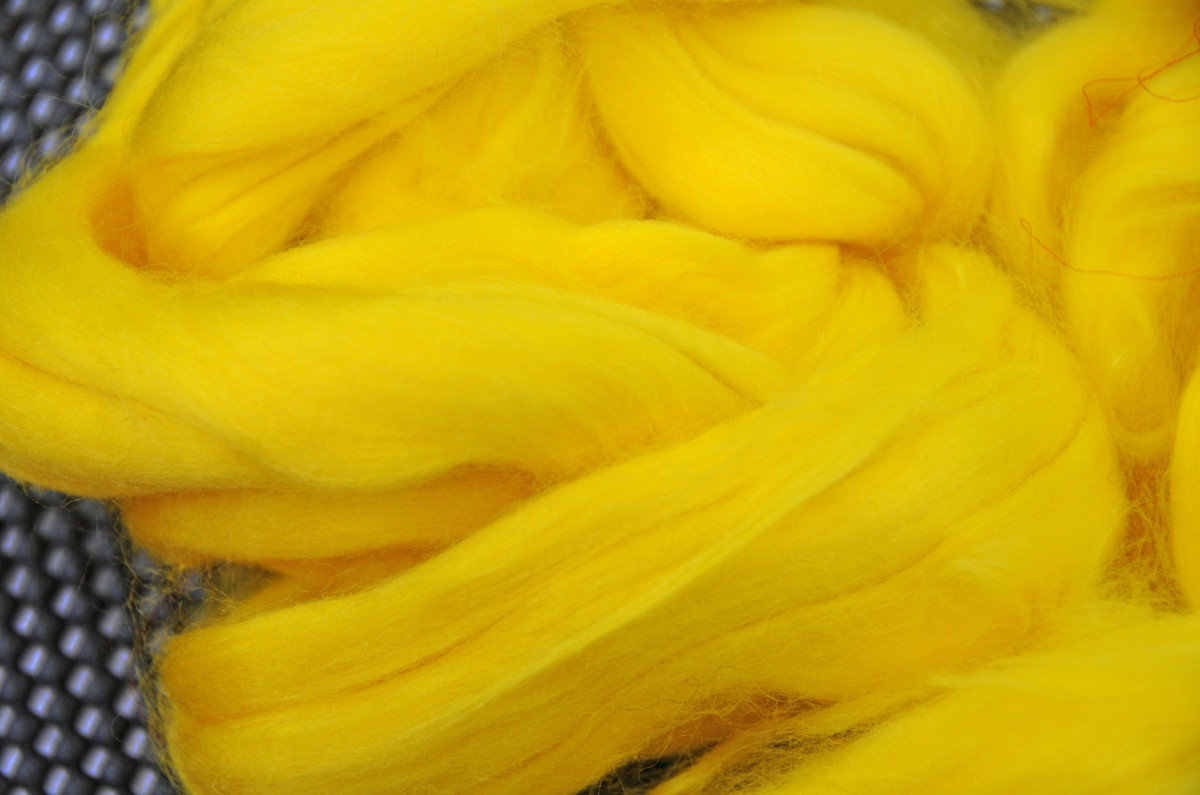 A close-up of the Silk Roving