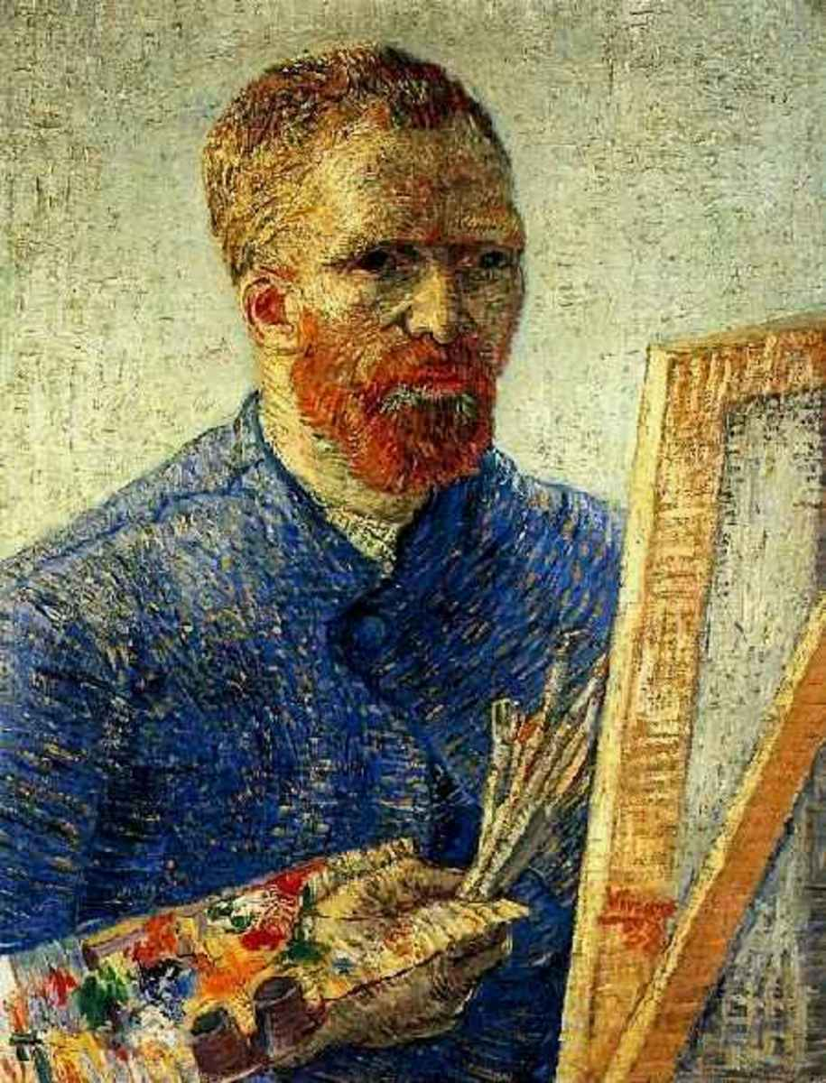 Vincent Van Gogh, Self Portrait in Front of The Easel, 1888 - He's painting on stretched canvas.