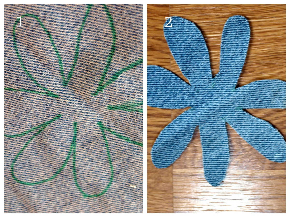 Using old jeans, or another fabric that you have on hand, make a flower.