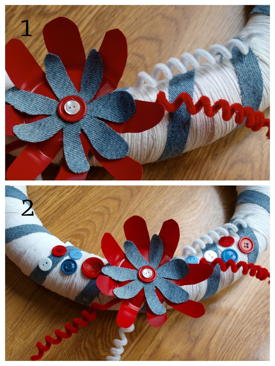 Adding more embellishments adds interest to the patriotic wreath.