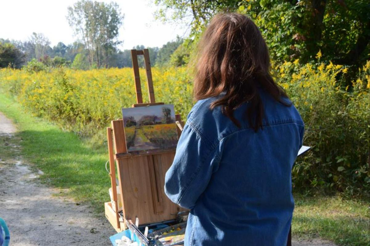 A French easel can be set up in the studio and brought with you if you feel like painting en plein air (outdoors)