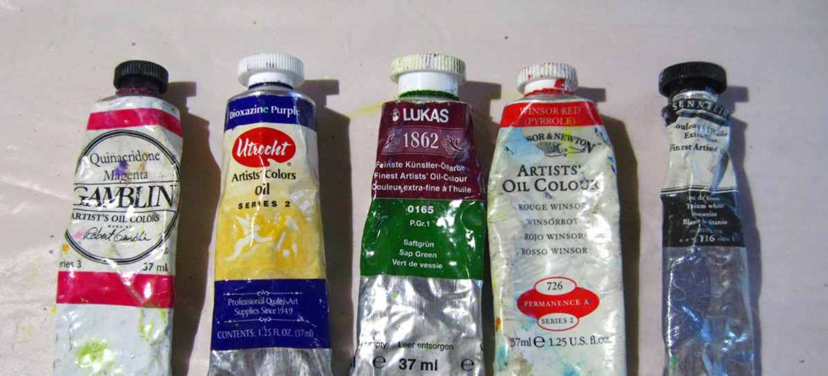 A sample of the oil paints that I use. From left: Gamblin, Utrecht, Lukas, Windsor & Newton, and Sennelier. They are all artist quality and inter-mixable.