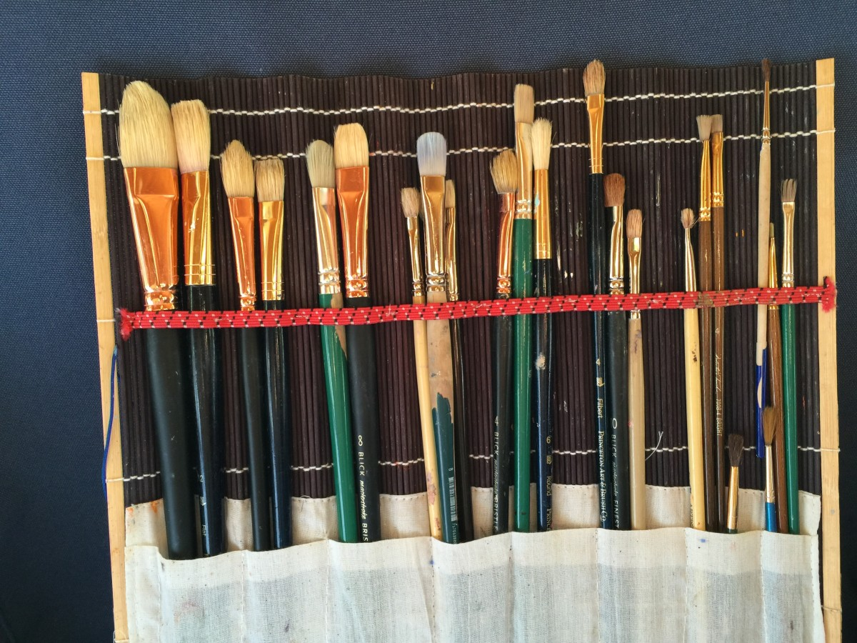 Keep your oil paint brushes separate from your watermedia brushes, clean them properly, and store them in a way that protects the bristles from bending. I use this bamboo brush roll case.