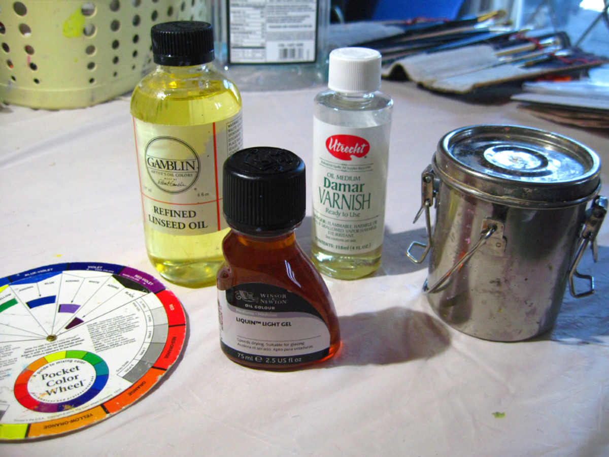 Some of my tools and media. What I can't do without are the color wheel and the stainless steel container for thinner. The refined linseed oil, Liquin, and Damar varnish are optional.
