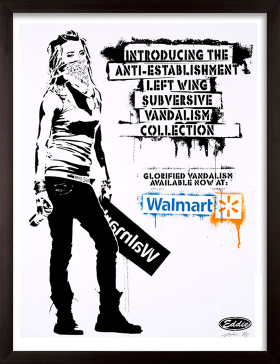 "Californian Artist Eddie Colla had his artwork stolen by Walmart and sold as a ""Banksy"" print. In order to reclaim his artwork, he created a limited edition print called ""It's Only Stealing If You Get Caught"" to fund legal fees in the case."
