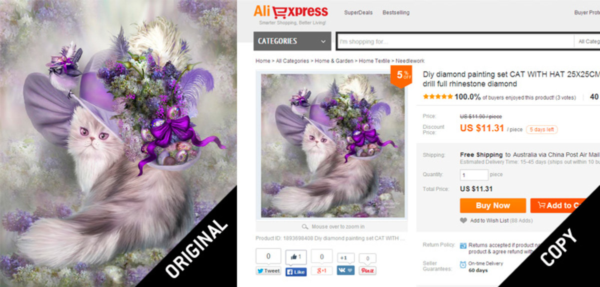 """An artist's worst nightmare: Colorado Artist Carol Cavalaris' painting of """"Cat In Easter Lilac Hat"""" was stolen by AliExpress and is now being sold as a kit so that anyone can reproduce it."""
