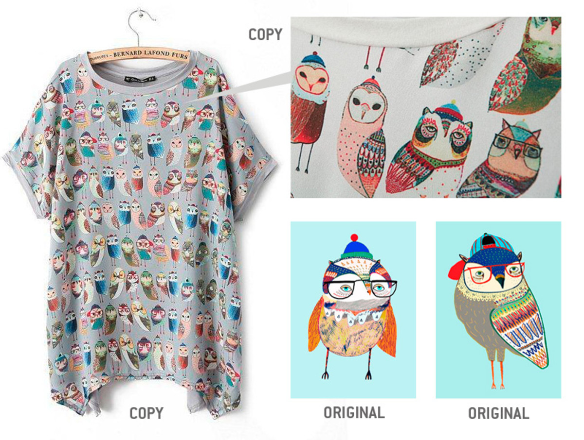 Spot the stolen owl - Ashley Percival's designs also featured without permission on tops from Chinese clothes retailer Yesstyle.com.