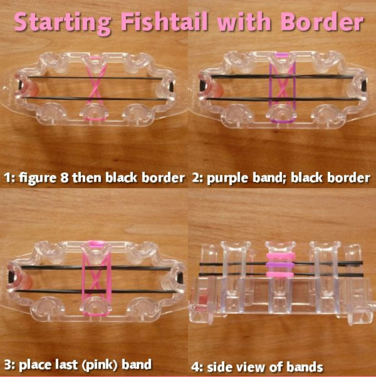Starting guide for where bands go on fishtail with border