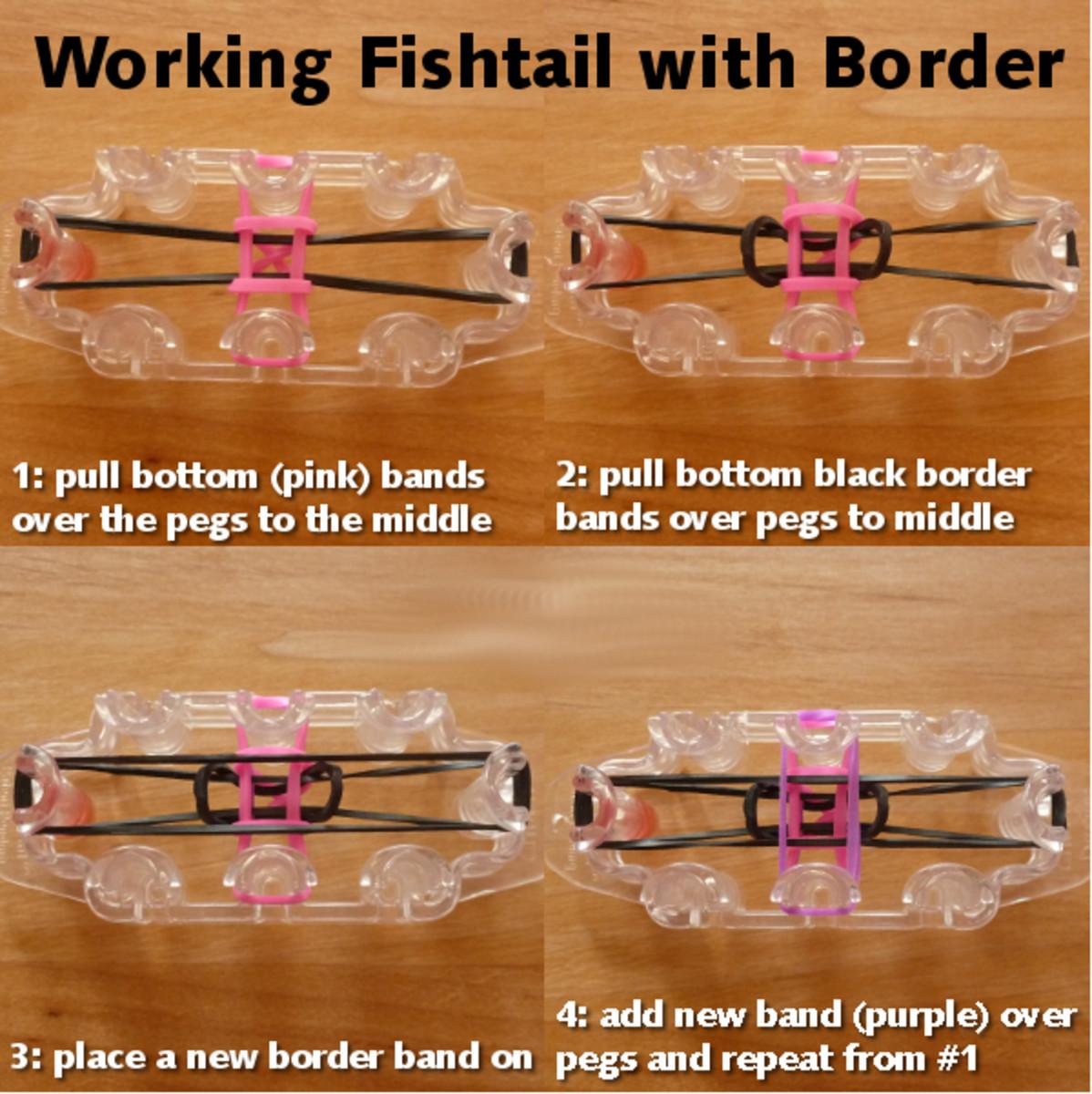 Basic working guide for making fishtail monster tail bracelet with border