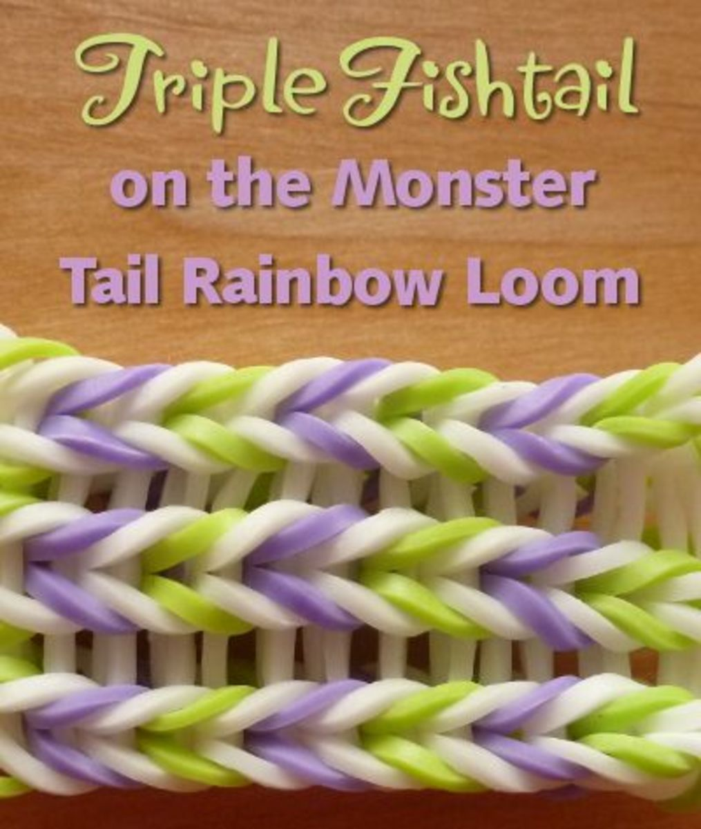 The triple fishtail pattern for the monster tail rainbow loom