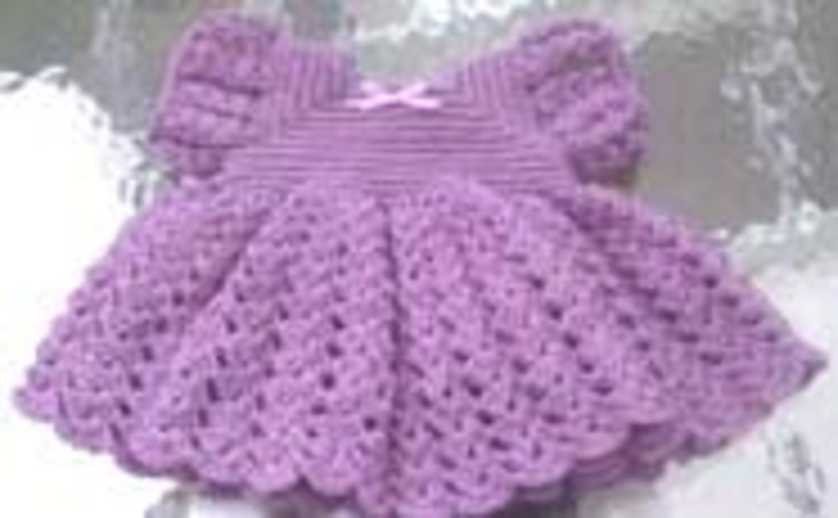 Ruffled purple dress.