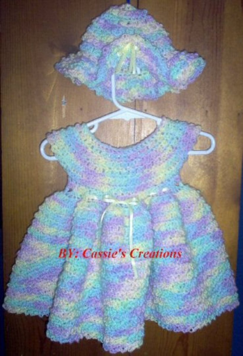 Newborn crochet dress.