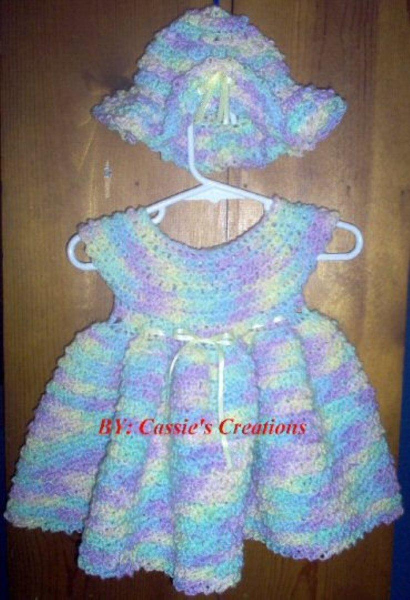 Newborn crochet dress.
