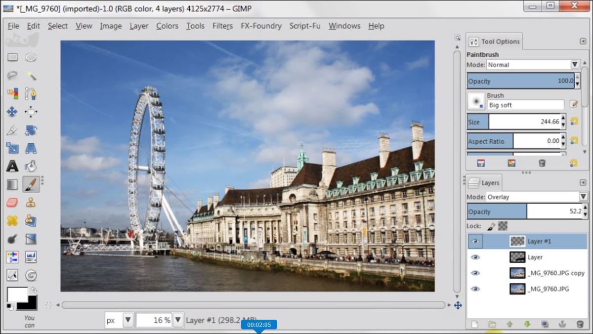 Overlay Layer Mode in GIMP 2.8 fig.4