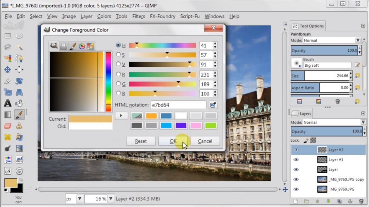 Overlay Layer Mode in GIMP 2.8 fig.5