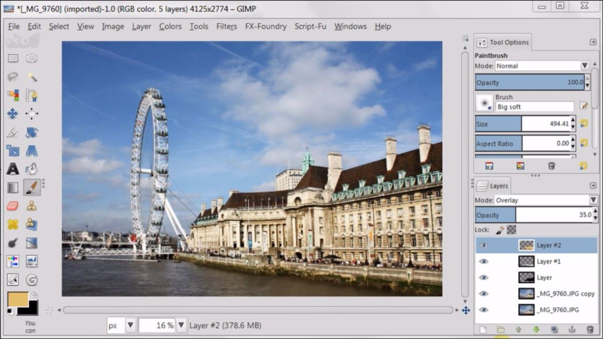 Overlay Layer Mode in GIMP 2.8 fig.6