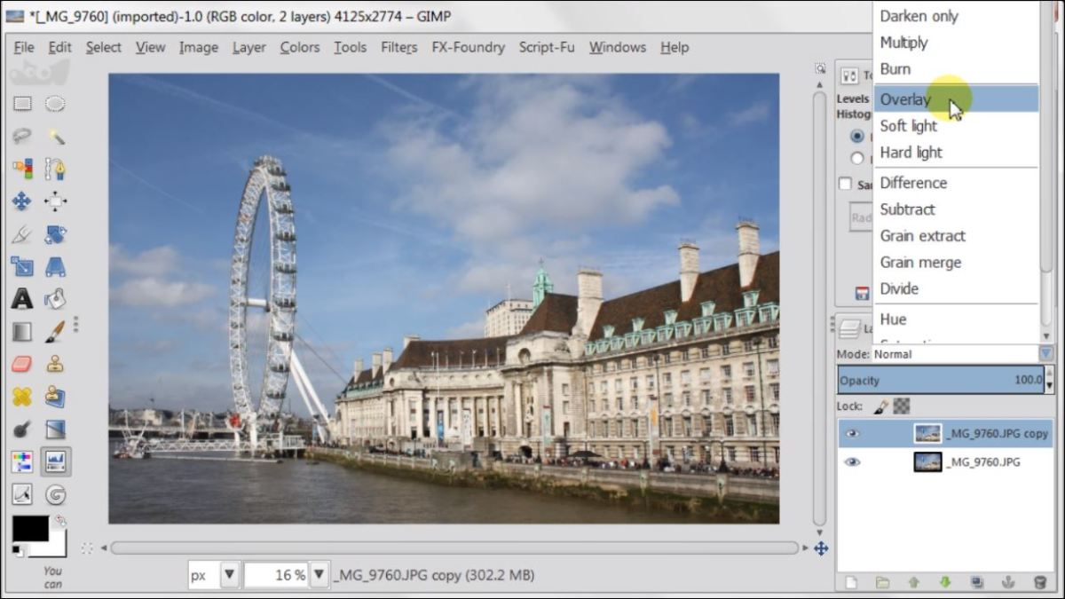 Overlay Layer Mode in GIMP 2.8 fig.2