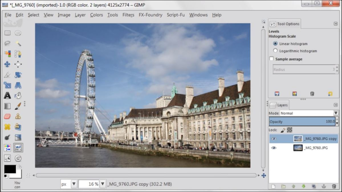 Overlay Layer Mode in GIMP 2.8 fig.1