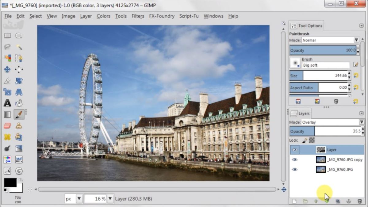 Overlay Layer Mode in GIMP 2.8 fig.3